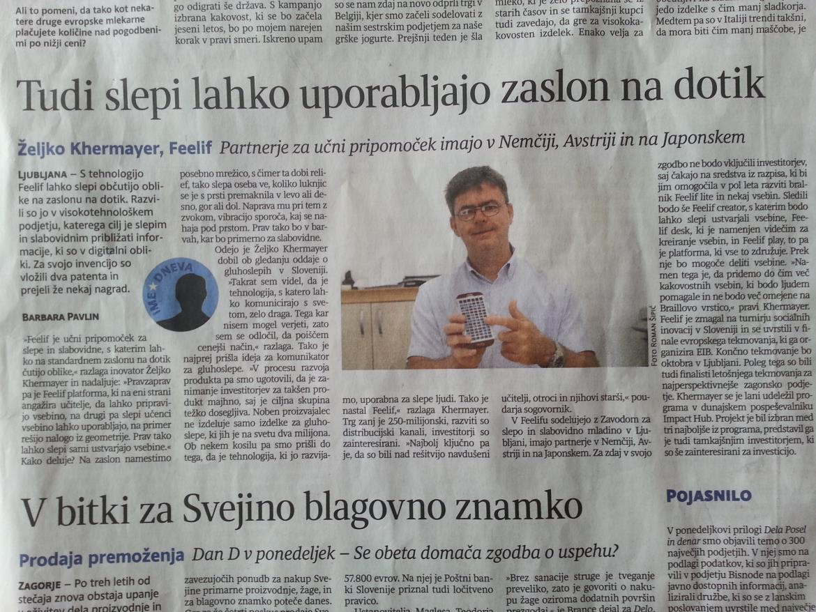 Article about Feelif in Slovenian newspaper Delo