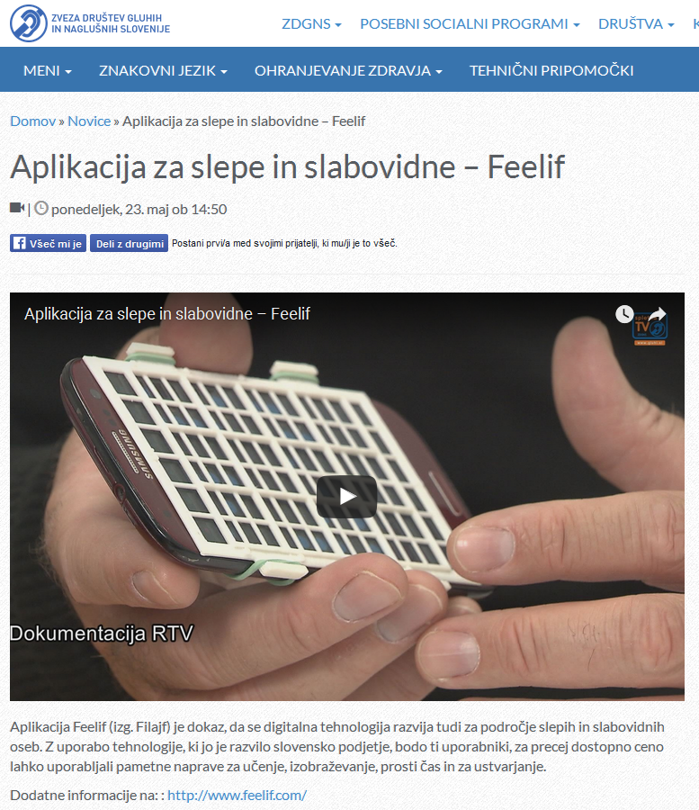 Feelif on web page of Association of Deaf and Hard of Hearing of Slovenia
