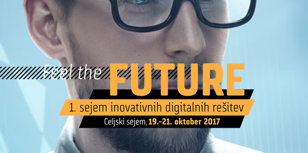 On the picture is a boy with a bear and glasses and on top it says: Feelif the future and the date of event, which is 19th - 21th of October 2017