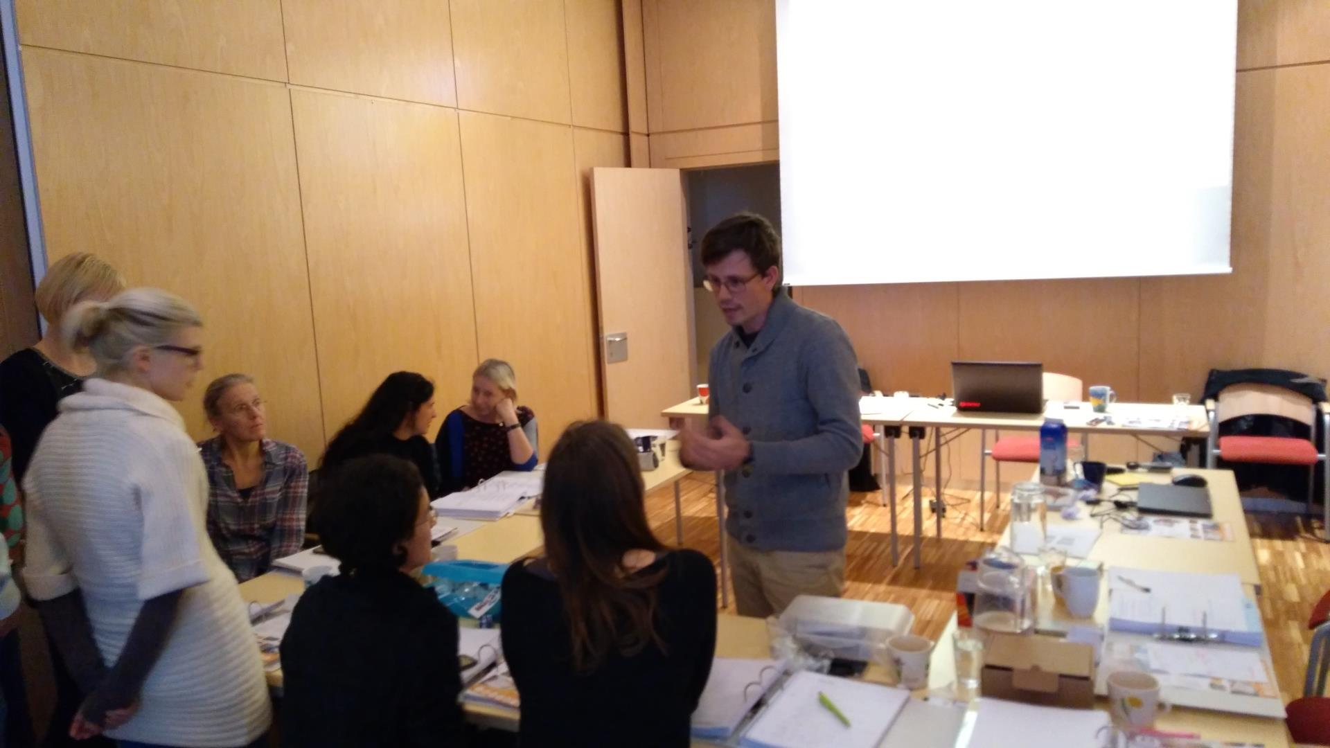 On the picture is our member, mr Boštjan Jerman, presenting Feelif to a group of teachers for the blind and visually impaired in Vienna