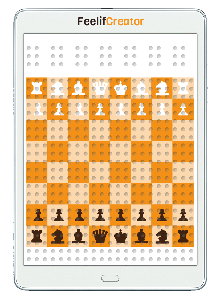 Chess digital game for blind. Layout over the whole screen